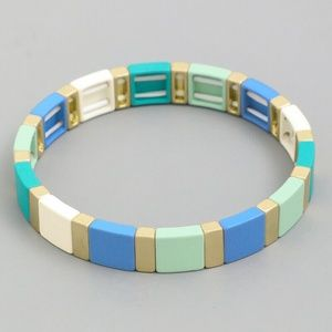 BLUE MULTI TILE BLOCK BEAD STRETCH BRACELET